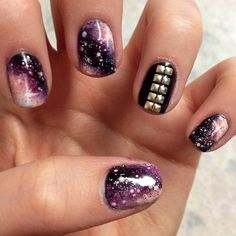 Galaxy Nails + Studded Nail accent