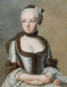 Young Woman with a Rose, by Jean Francois Guilliband, 1762. Pastel.