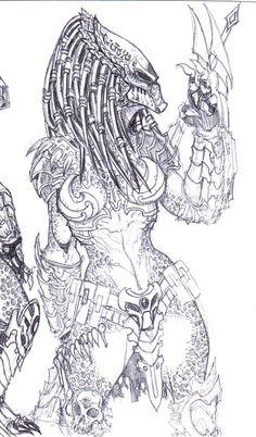 Predator - sketch, Female 2 by vandalocomics Predator Tattoo, Alien Vs Predator, Arte Alien, Alien Art, Aliens, Female Yautja, Predator Cosplay, Character Art, Character Design