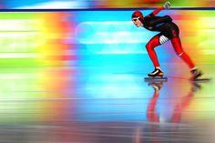 Magnus Myhren Kristensen of Norway skates in the 3,000-meter speed skating race during the Winter Youth Olympic Games in Innsbruck, Austria.