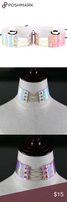🌸Holographic Chained Laced Choker🌸 Sexy Holographic Chained Laced Choker.  Available in Pink or White. PU leather material 29cm length 4cm width 50 lace length.           🌸not unif🌸 UNIF Jewelry Necklaces