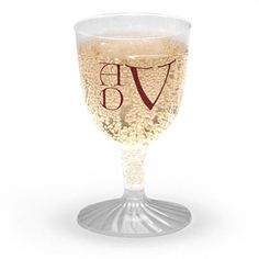 Personalized wine glasses for your party are stylish and fun. These glasses hold 5 ounces and have a detachable base. Very small size for a very small pour. They are available in quantities starting from 50. You select ink color, a monogram style or typestyle and an optional design. Size of type differs depending on amount of type you select. Positioning only as shown.