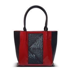patent and genuine ostrich leather handbag