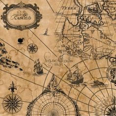 vintage sailing map . . .  @Brynn Hays this could go in your pirate room! :) -- SO cool!: