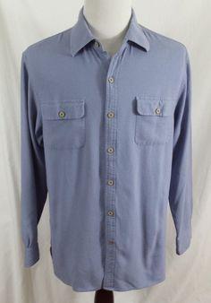 #theSmartShoppe Nat Nast Luxury Originals Mens Large Blue Silk and Cotton Button Front Shirt L #NATNAST #ButtonFront