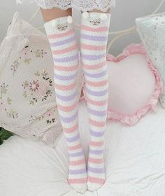 Color:A.Tips: *Please double check above size and consider your measurements before ordering, thank you ^_^ Kawaii cartoon plush stockings Harajuku Fashion, Kawaii Fashion, Lolita Fashion, Cute Fashion, Ddlg Outfits, Cute Outfits, Mode Kawaii, Space Outfit, Cute Socks