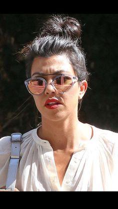 Shady lady: Kourtney pushed the fashion envelope by wearing ridiculous sunglasses. Kardashian Style, Kardashian Jenner, Kourtney Kardashian, Taking New York, Shady Lady, Cute Sunglasses, Jenner Style, Style Inspiration, American