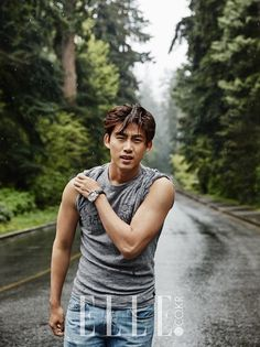 2PM's Taecyeon takes on the rugged outdoors in Vancouver for 'Elle' | allkpop.com
