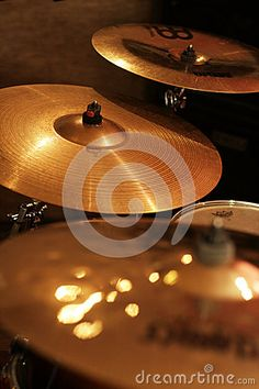 Photo about Close-up of cymbals on a drum kit. Image of close, shine, cymbal - 62360315