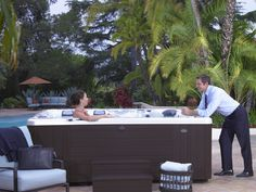 The perfect spot after a day at the office.  Caldera Spa Cantabria model #hottub.