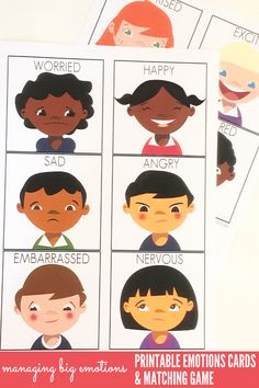 Managing Big Emotions: Printable Emotions Cards and Matching Game. Great for use…