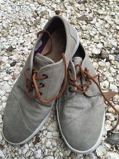 Toms Paseo Taupe Leather Washed Canvas Men's Size 9 Shoes | eBay