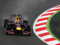 Mark Webber copes with a wet Friday during Practice for the Spanish GP