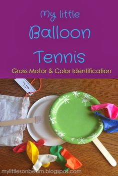My Little Sonbeam: DIY Christmas Gifts {stocking Stuffers} for Children. Balloon tennis: gross motor skills and color identification.  Indoor games. Mylittlesonbeam.blogspot.com {homeschool preschool learning activities}