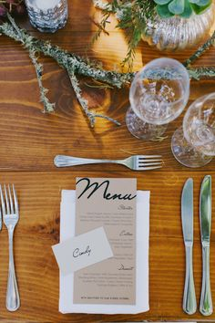 rustic winery wedding placesetting table menu