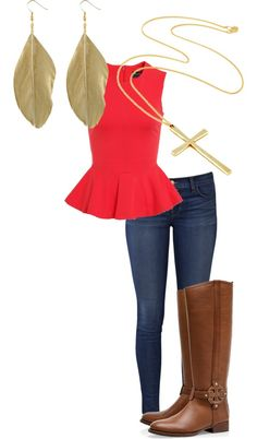 riding boots, skinny jeans, pop of color and gold jewelry