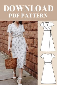PDF Wrap Midi Dress Digital Pattern PDF for Women UK / EU / US AU Dress features wrap over detail, princess line, short sleeves in a relaxed fit. It can be made in a variety of fabrics such as polyester or crepe. Diy Clothing, Sewing Clothes, Clothing Patterns, Dress Patterns, Diy Sewing Projects, Sewing Tutorials, Fashion Sewing, Diy Fashion, Diy Dress