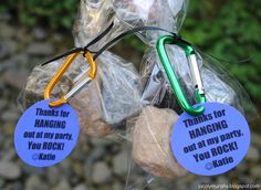 "Chocolate rocks party favors!  ""Thanks for hanging out at my party.  You ROCK!""  Cute idea."