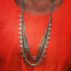 """Stella & Dot Sutton necklace over neon orange - a great """"wear now"""" style for summer!"""