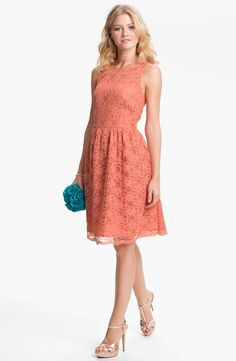 Calvin Klein Sleeveless Lace Fit Flare Dress in Pink (coral)