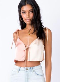 Alejandro Tie Up Top Champagne – Princess Polly Diy Clothes, Clothes For Women, Party Tops, Satin, Online Fashion Boutique, Front Tie Top, Princess Polly, Cute Tops, Women's Tops