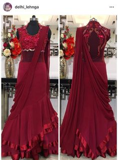 Pearl_designers Book ur dress now Completely stitched Customised in all colours For booking ur dress plz dm or whatsapp at 9582994206 Saree Draping Styles, Drape Sarees, Saree Styles, Indian Wedding Gowns, Indian Gowns Dresses, Indian Outfits, Choli Dress, Saree Gown, Anarkali Dress
