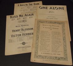 Sheet Music, Music Sheets for Crafts, Music Room Decor,  Vintage Sheet Music, A Kiss in the Dark, Kiss me again, Songs and Ballads, 1922-25 by BeautyMeetsTheEye on Etsy
