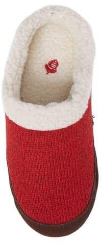 Women Ladies Premium Red Heart Grey Lightweight Mule Slippers  Size 3 4 5 6 7 8