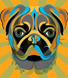 PUG dog art pet portrait print in blue by mediagraffitistudio, $30.00
