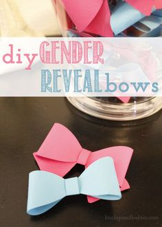Make your own DIY Gender Reveal Bows at burlapandbabies.com