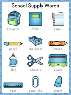 School Supply Words for the writing center ~ Back to School English Activities For Kids, Learning English For Kids, English Worksheets For Kids, English Lessons For Kids, English Language Learning, Teaching English, Work Activities, Spanish Language, French Language
