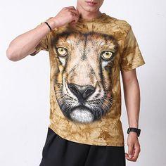 7ba277df5fe Men Shirts Short Sleeve Cotton Rocksir O-Neck Personalized Tshirt 3D Water  Printed