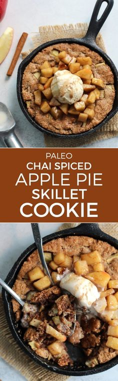 This Paleo Chai Spiced Apple Skillet Cookie is the perfect dessert for two. Loaded with soft apples, seasoned with cinnamon and chai spices, baked in a mini cast iron skillet and topped with your choice of ice cream. It is the perfect fall dessert!