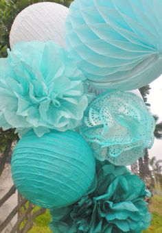Blue ombre tissue pom poms, honeycomb balls, and paper lanterns set, white, aqua, teal, dark teal by DellaCartaDecor on Etsy https://www.etsy.com/listing/232313580/blue-ombre-tissue-pom-poms-honeycomb