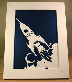 Paper cut rocket