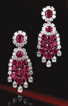 PAIR OF RUBY AND DIAMOND PENDANT-EARCLIPS, VAN CLEEF & ARPELS, PARIS, CIRCA 1960.