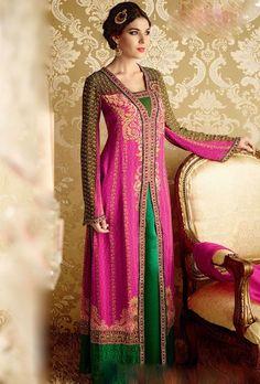 Pink and Green Designer Suit - Desi Royale