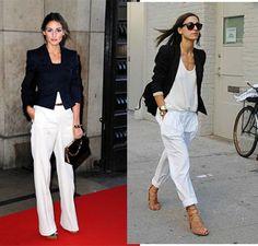 ss12 pantalones blancos chaqueta negra