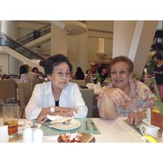 Mrs. Nelson and Mrs. Matigan enjoy a laugh during lunch at Taste, Westin Hotel, Guam.