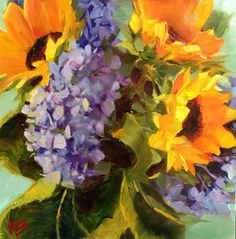 Hydrangeas & Sunflowers original fine art by Krista Eaton