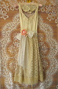 Tea length dress, Cream lace dress, Bridesmaid dress, Wedding dress, Vintage slip Romantic Lace Eyelet 38 inch bust Medium Large