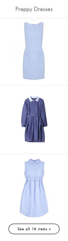 """Preppy Dresses"" by polisson ❤ liked on Polyvore featuring dresses, blue, valentino, платья, vestidos, round neck dress, sleeveless shift dresses, blue dresses, blue sleeveless dress and sleeveless dress"