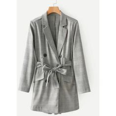 SheIn(sheinside) Double Breasted Plaid Blazer Romper With Belt (130 BRL) ❤ liked on Polyvore featuring jumpsuits, rompers, grey, long-sleeve rompers, gray romper, embellished jumpsuit, jump suit and long sleeve jump suit
