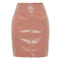 Blumarine Salmon Patent Leather Mini Skirt ❤ liked on Polyvore featuring skirts, mini skirts, pencil skirts, short pencil skirt, beige skirt, beige mini skirt and high-waist skirt