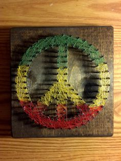 Rasta Peace Sign String Art 6x6 Decorative Wall by SimplyThreaded, $19.00