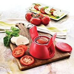 CLCL Tomato & mozzarella slicer, Multifunctional Tomatoes Slicer Onion Potato Chopper Fruits Vegetables Cutter Shredder Kitchen Tools/Red.
