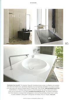 The bespoke  Deauville  frameless shower screen by Majestic and available  from Alternative Bathrooms  Utopia Kitchen   Bathroom December 2016Alterntive Bathroom s  Saturn  textured countertop basin with the  . Essential Kitchen And Bathroom Business Magazine. Home Design Ideas