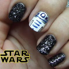 Day23 Inspired by a movie  Star Wars nail art R2D2 <3