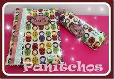 PANITCHOS - Ideias em tecido Kit Escolar: Capa para caderno e Estojo em tecido com bordado personalizado.