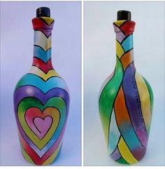 Crafts With Glass Jars, Glass Bottle Crafts, Wine Bottle Design, Wine Bottle Art, Painting Glass Jars, Bottle Painting, Recycled Glass Bottles, Painted Wine Bottles, Yule Crafts